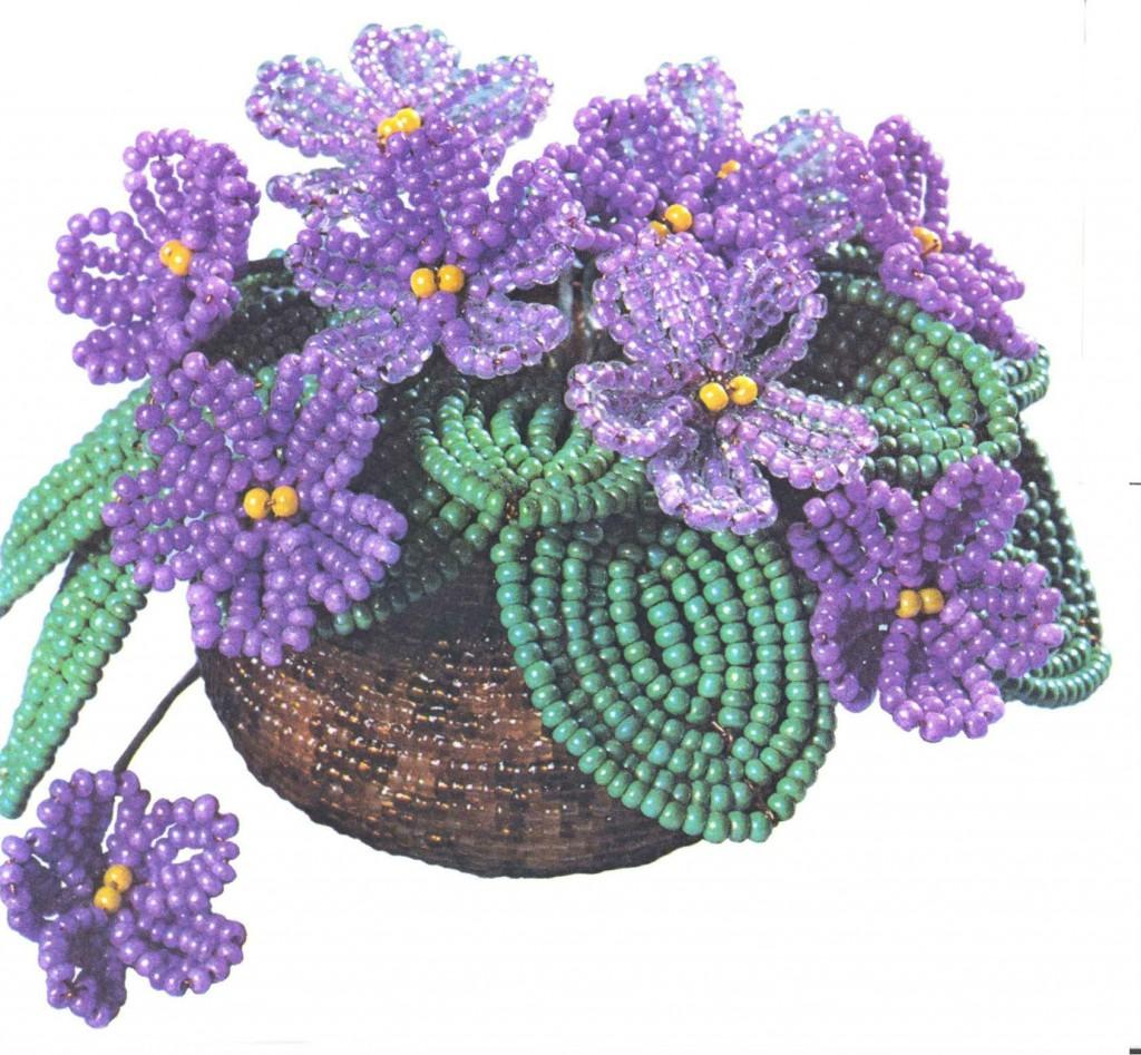 Бисероплетение цветы: фиалки.