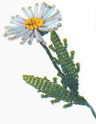 цветов ромашки из бисера и