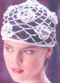 Вязание шапок крючком: ажурная с розами.