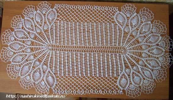 вязание крючком салфетки большой овальной
