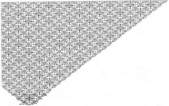 Вязание крючком шали безотрывным способом.