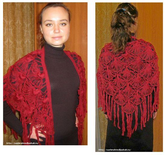 Вязание крючком шали из ракушек.
