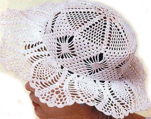 Вязание крючком шляп с полями похожими на ананас.