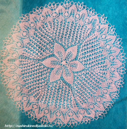 Вязание спицами салфеток: нарцисс.