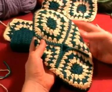 Вязание крючком: тапочки.